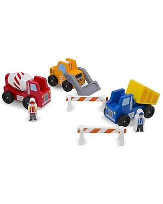 Melissa & Doug Set in Legno: 3 Veicoli del Cantiere + Barriere + Operai - Ottima idea regalo! Construzioni In Legno