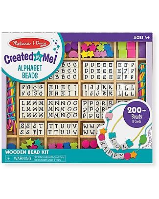 Melissa & Doug Set in Legno per Creare Braccialetti - Con lettere e perline! Giochi Creativi