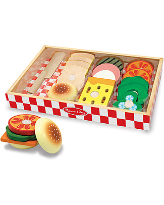 Melissa & Doug Set in Legno Preparazione Sandwich, 17 Pezzi - Ottima idea regalo! Toy Kitchens & Play Food