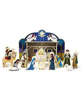 Melissa & Doug Set Presepe in Legno, 11 personaggi + mangiatoia - Ottima Idea Regalo per Natale! Decorazioni Natalizie