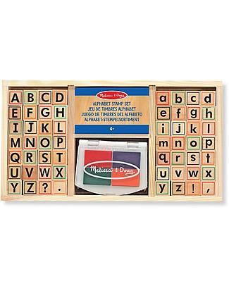 Melissa & Doug Set Timbri Alfabeto - Include tampone d'inchiostro - 57 Pezzi Kit Fai Da Te