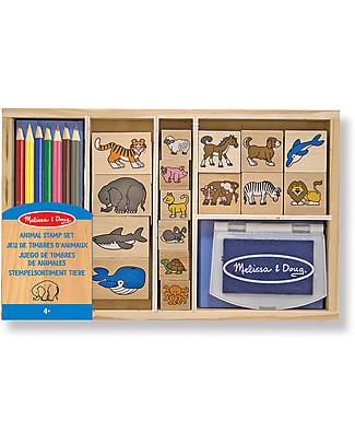 Melissa & Doug Set Timbri Animali - Include matite colorate e inchiostro - 24 Pezzi Kit Fai Da Te