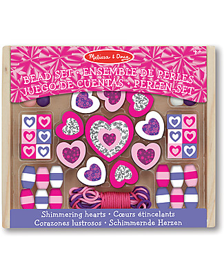 Melissa & Doug Shimmering Hearts Wooden Bead Set - 45+ Pieces Art & Craft Kits