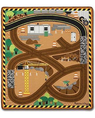 Melissa & Doug Tappeto Gioco, Cantiere, 100 x 90 cm – Include 3 veicoli in legno per giocare! Tappeti Gioco