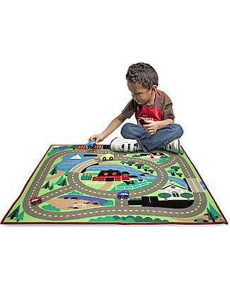 Melissa & Doug Tappeto Gioco, Città, 100 x 90 cm – Include 4 macchinine in legno per giocare! Tappeti Gioco