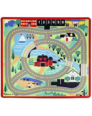 Melissa & Doug Tappeto Gioco, Città, 100 x 90 cm - Include 4 macchinine in legno per giocare! Tappeti Gioco