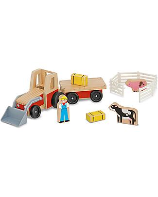 Melissa & Doug Trattore in legno – Con personaggi e animali inclusi! Macchine e Trenini  in Legno