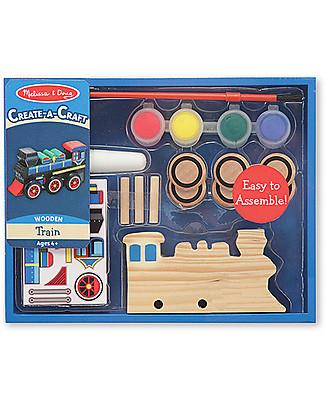 Melissa & Doug Treno in Legno da Assemblare e Dipingere - Con sticker e colori inclusi! Macchine e Trenini  in Legno