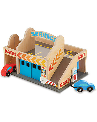 Melissa & Doug Wooden Service Station Parking Garage, Includes 2 Cars - Great gift idea! Wooden Toy Cars, Trains & Trucks