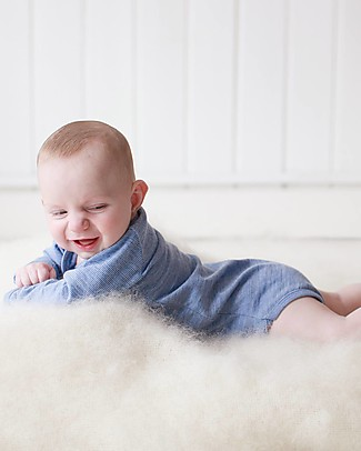 Merino Kids Body Maniche Lunghe - Blu Banbury - 100% Lana Merino Bio: calda a non pizzica! Body Manica Corta