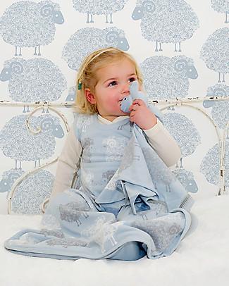 Merino Kids Sacco Nanna Go Go Bag, Azzurro/Pecorelle - 0-2 anni - 100% lana merino e cotone bio Sacchi Nanna Pesanti