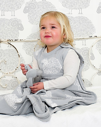 Merino Kids Sacco Nanna Medio, 0-2 anni - 100% Lana Merino Naturale e Cotone Bio - Grigio Chiaro/Pecorelle - Go Go Bag Sacchi Nanna Pesanti