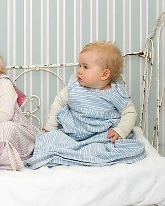 Merino Kids Sacco Nanna Pesante, 2-4 anni - 100% Lana Merino Naturale e Cotone Bio - Celeste/Righe - Aoraki Go Go Bag Duvet Sacchi Nanna Pesanti