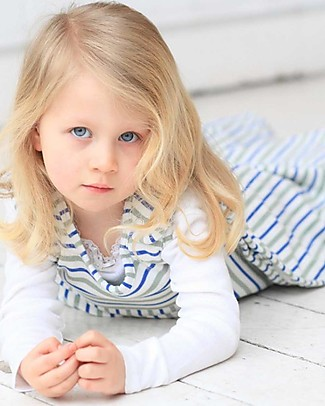 Merino Kids Sacco Nanna Pesante, 2-4 anni - 100% Lana Merino Naturale e Cotone Bio - Righe Blu/Salvia - Go Go Bag Duvet Sacchi Nanna Pesanti
