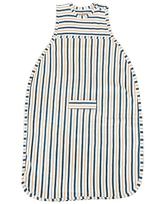 Merino Kids Sacco Nanna Pesante Go Go Bag™ Duvet (0-2 anni)– Collezione Wildflower - Righe Blu Navy e Mandarino - 100% Lana Merino Naturale e Cotone Bio Sacchi Nanna Pesanti