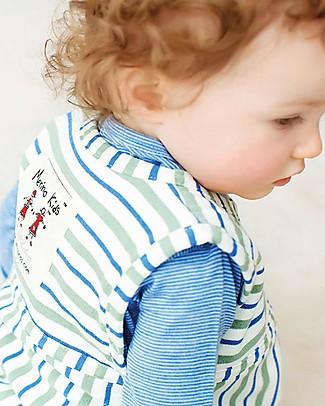Merino Kids Sacco Nanna Pesante Go Go Bag™ Duvet Righe Blu e Salvia (nascita - 2 anni) - 100% Lana Merino Naturale e Cotone Bio Sacchi Nanna Pesanti