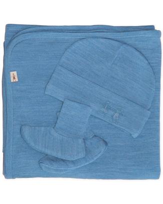 Merino Kids Set Copertina, Cappellino & Scarpine Cocooi™ - Blu Banbury - 100% Lana Merino Naturale (perfetto regalo di nascita!) Coperte