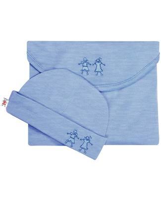 Merino Kids Set Copertina Swaddle & Cappellino Cocooi™ - Banbury Blu - 100% Lana Merino Naturale Copertine Swaddles