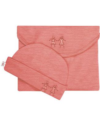 Merino Kids Set Copertina Swaddle & Cappellino Cocooi™ - Rosso Lampone - 100% Lana Merino Naturale Swaddles