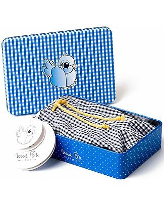 Mia Bu Milano Costume Mare Bimbo, Vichy Blu – In confezione regalo, con fiaba inclusa! Costumi a Pantaloncino