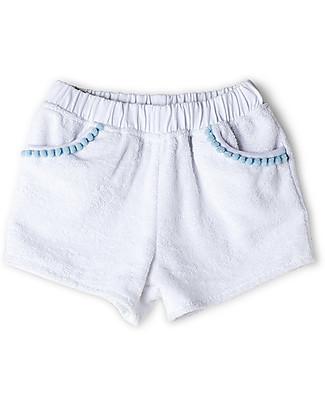 Mia Bu Milano Pantaloncini Corti Bimba in Spugna con Pompom, Bianco - 100% cotone Pantaloni Corti