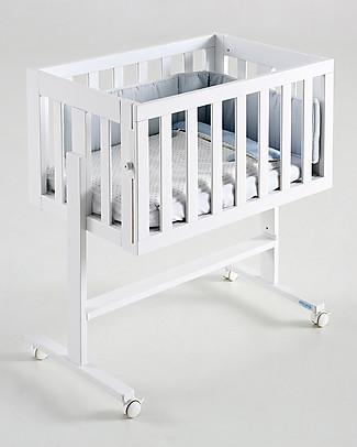 Micuna Culla Co-Sleeping Cododo 2-in-1 in Legno di Faggio, Bianco - Si trasforma in scrivania!  Culle Co-Sleeping