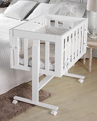 Micuna Culla Co-Sleeping Cododo 2-in-1 in Legno di Faggio, Bianco - Si trasforma in scrivania!  null
