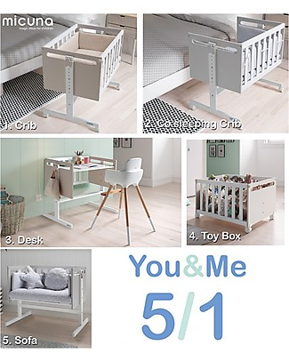 Micuna Mini-Culla e Co-sleeping You&Me, Sabbia - Diventa Scrivania o Divano Culle Co-Sleeping