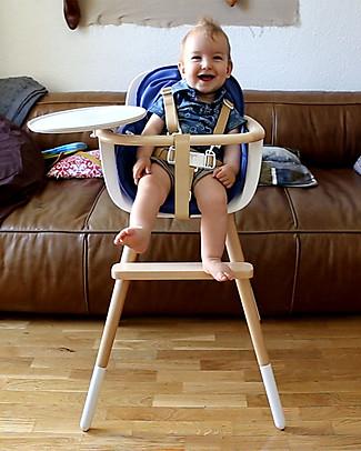 Micuna Seggiolone Evoultivo Ovo One con Cinture Bianche - Adatto dai 6 mesi fino ai 6 anni! Seggioloni