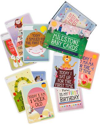 """Milestone Baby Cards Cartoline """"Prime Tappe Importanti"""" - Milestone Baby Cards - TESTO IN INGLESE - Regalo di Nascita Perfetto!  Album Dei Ricordi"""