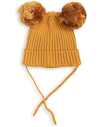 Mini Rodini Berretto Orecchie, Beige - 100% cotone bio Cappelli Invernali