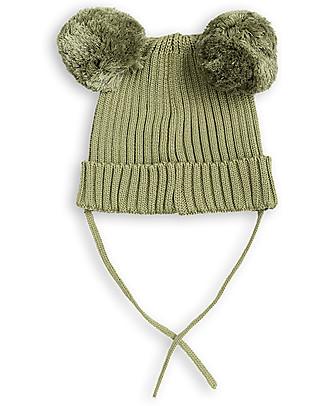 Mini Rodini Berretto Orecchie, Verde - 100% cotone bio Cappelli Invernali