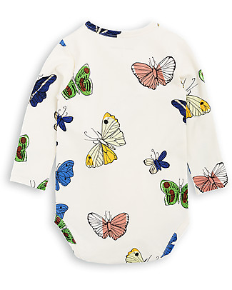 Mini Rodini Body Maniche Lunghe Farfalle, Panna - Cotone bio Body Manica Lunga