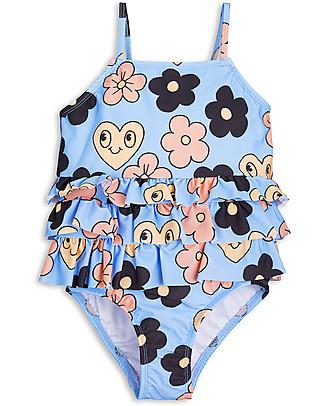 Mini Rodini Costume Intero Bimba, Fiore+Azzurro - UV 50+ Costumi Interi