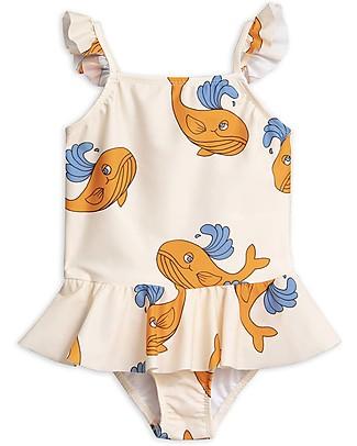 Mini Rodini Costume Intero con Volant a Gonnellina, Balena - Arancione - UV 50+ Costumi Interi