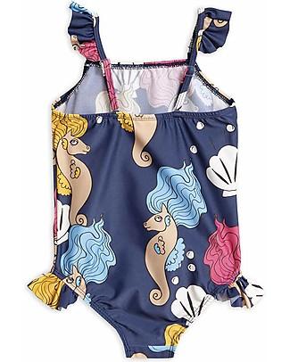 Mini Rodini Costume Intero con Volant, Cavalluccio Marino - Blu Scuro - UV 50+ Costumi Interi