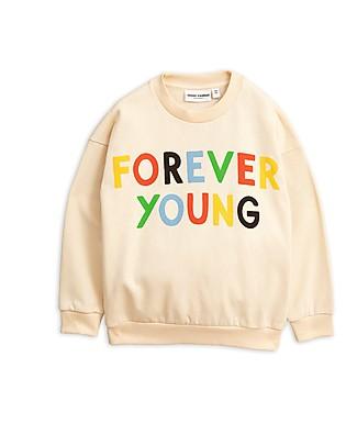 Mini Rodini Felpa Forever Young, Bianca - 100% Cotone Bio Felpe