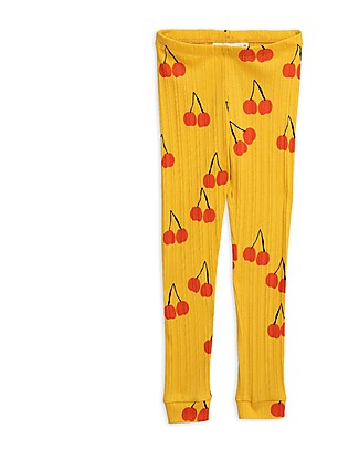 Mini Rodini Leggings Ciliegie, Giallo - 100% Cotone bio Leggings