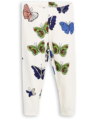 Mini Rodini Leggings Farfalle, Panna - Cotone bio, eco-friendly! Leggings