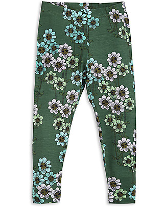 Mini Rodini Leggings Margherite, Verde Scuro - Eco-friendly! Leggings