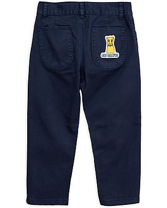 Mini Rodini Pantaloni Cat Campus, Blu Navy - Cotone Bio Elasticizzato Pantaloni Lunghi