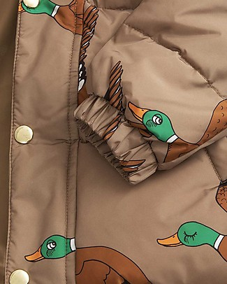 Mini Rodini Piumino Imbottito Ducks, Marrone - 100% Tessuto Riciclato Resistente all'Acqua Giacche