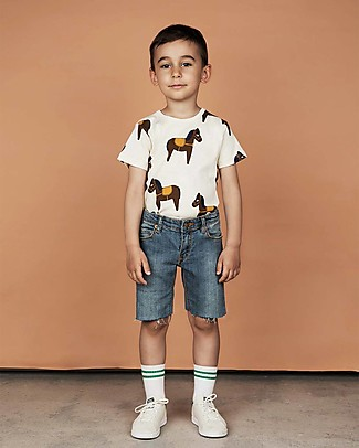 Mini Rodini T-Shirt Cavalli, Giallo - 100% Cotone bio T-Shirt e Canotte