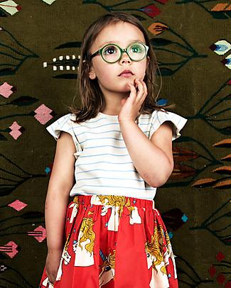 Mini Rodini T-Shirt con Maniche ad Aletta, Righe Azzurro - Cotone bio T-Shirt e Canotte