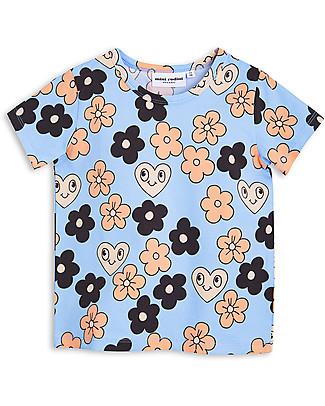 Mini Rodini T-Shirt Fiori, Azzurro - Cotone bio T-Shirt e Canotte