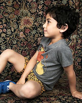Mini Rodini T-Shirt Leone, Grigio Scuro Melange - Cotone Bio T-Shirt e Canotte
