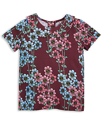 Mini Rodini T-Shirt Margherite con Colletto, Burgundy - Eco-friendly! null