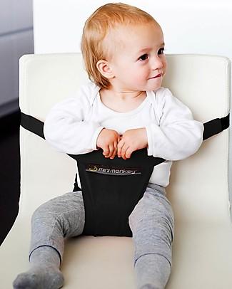 Minimonkey Minichair Nera - Seggiolino Universale da Tavolo in Cotone resistente allo Sporco! Sta anche in borsa! Seggiolini Da Viaggio