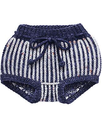 Misha and Puff Fisherman, Pantaloncini a Palloncino Copripannolino in Maglia, Blu Inchiostro – 100% lana merino Pantaloni Corti