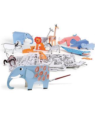 Mitik Anim'odolous - Animali della Savana - Cartoncino 90% Riciclato (senza bisogno di colla o forbici!) Carta e Cartone